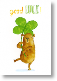 Bear With Four-leaf Clover, Good Luck Card