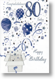 Balloons, 80th Birthday Card
