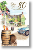 Country Pub, Traditional 80th Birthday Card