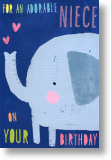 Elephant, Niece Birthday Card