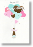 Heart Balloons, 1st Anniversary Card