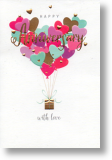 Heart Balloons, General Anniversary Card