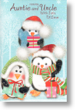Penguin Trio, Auntie and Uncle Cute Christmas Card