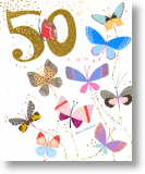 Butterflies, 50th Birthday Card