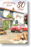Red Sports Car, Traditional 80th Birthday Card