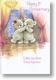 Dancing Teddies, 1st Anniversary Card