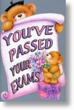 Flowers and Gift, Exam Congratulations Card