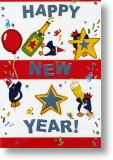 Celebrating Penguins, New Year Card