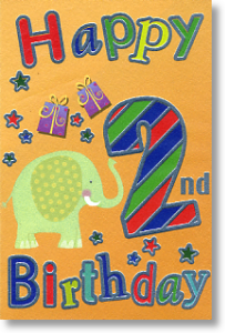Elephant, 2nd Birthday Card
