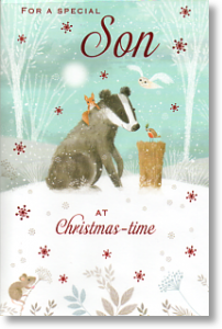 Badger and Friends, Cute Son Christmas Card