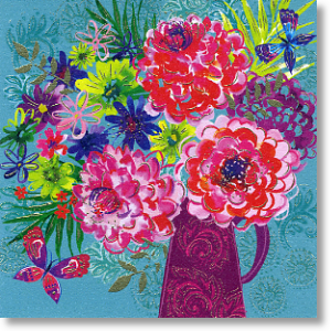 Dahlia Blooms, Floral Blank Card