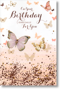 Glitter and Butterflies, Birthday Card for Her