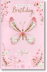 Golden Butterfly, Birthday Card for Her