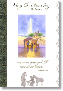 Stable Scene, Religious General Christmas Card