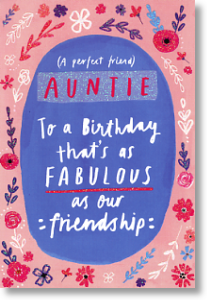 Friendship, Auntie Birthday Card