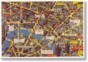 City of London Map, London Postcard