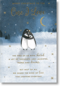 Penguin Couple, One I Love Christmas Card