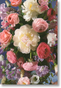 Peonies and Ranunculus, Birthday Card for Her