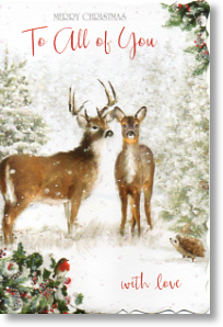 Reindeer, Traditional To All of You Christmas Card