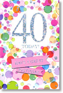 Bubbles, 40th Birthday Card