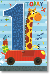 Driving Giraffe, 1st Birthday Card