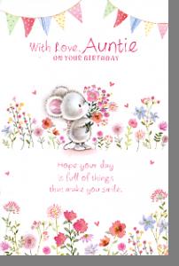 Picking Flowers Auntie Birthday Card Online Handwritten