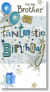 Balloons and Stars, Brother Birthday Card
