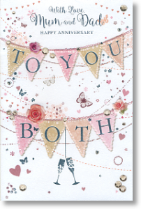Bunting, Mum and Dad Anniversary Card