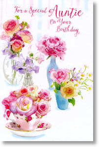 Teacups Roses Auntie Birthday Card Online Handwritten