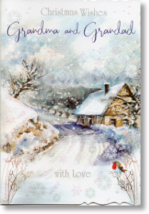 Snowy Scene, Grandma and Grandad Christmas Card