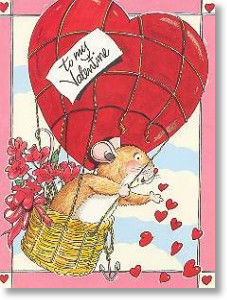 Fieldmouse and Balloon, Valentine's Day Card
