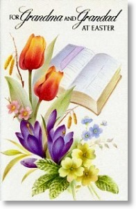 Bible & Flowers, Grandparents Easter Card
