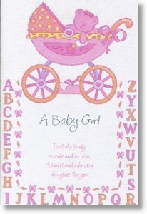 A B C, New Baby Girl Card