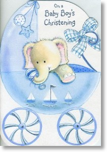 Elephant, Christening Card