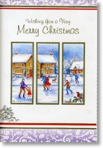Skating Scene, Traditional General Christmas Card