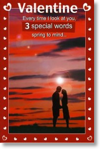 3 Special Words, Valentine's Day Card