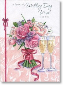 Bouquet & Champagne, Wedding Day Card