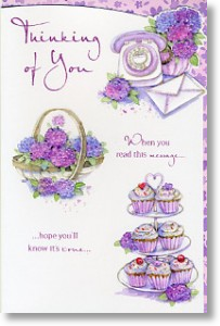 Cupcakes and Flowers, Thinking of You Card
