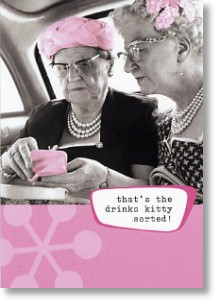 Drinks Kitty, Funny Blank Card