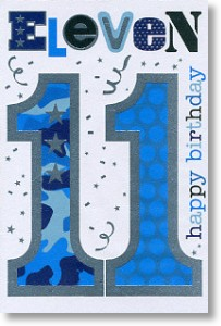 Blue Eleven, 11th Birthday Card